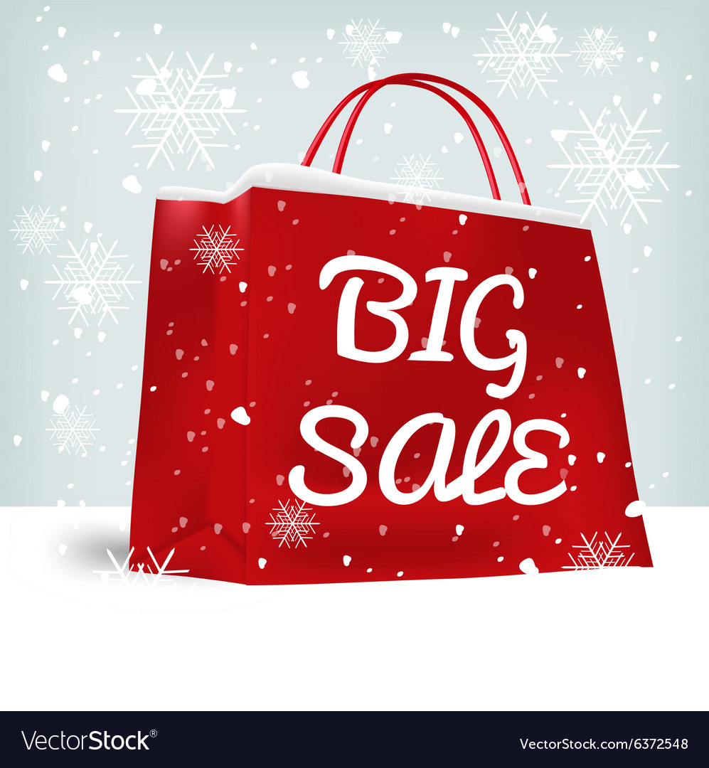 Red big sale shopping bag vector