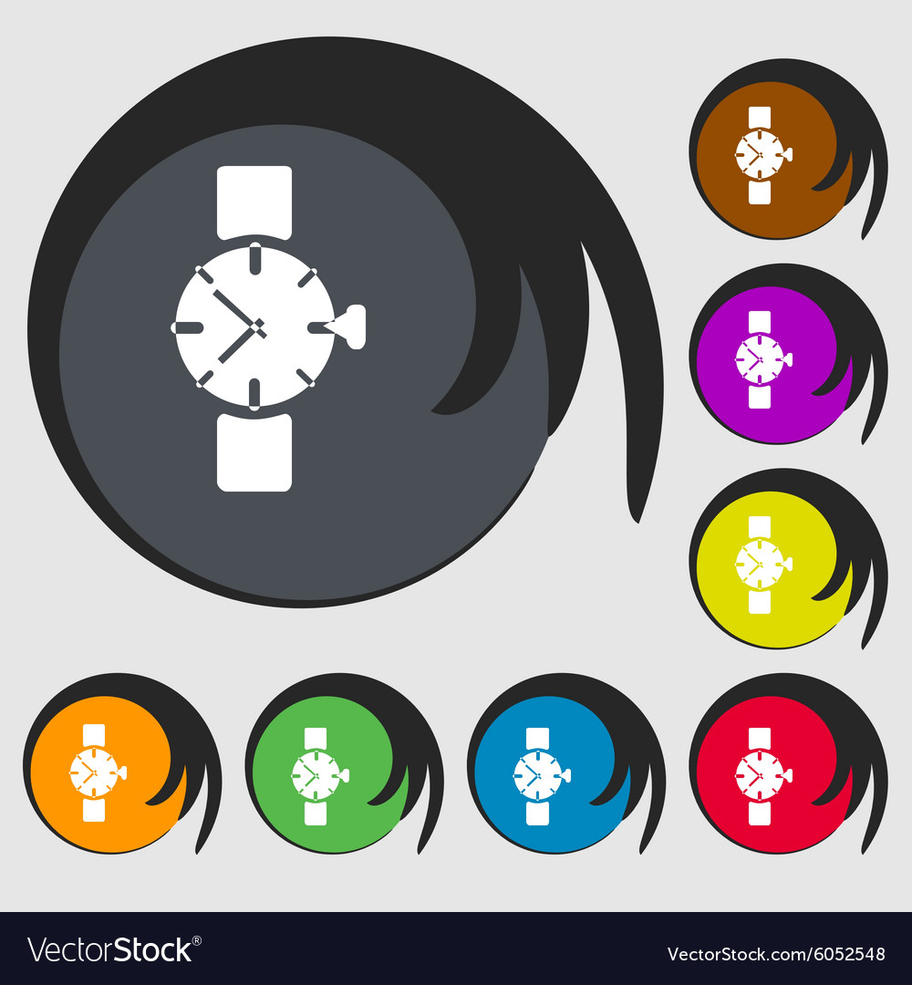 Watches icon symbol symbols on eight colored vector