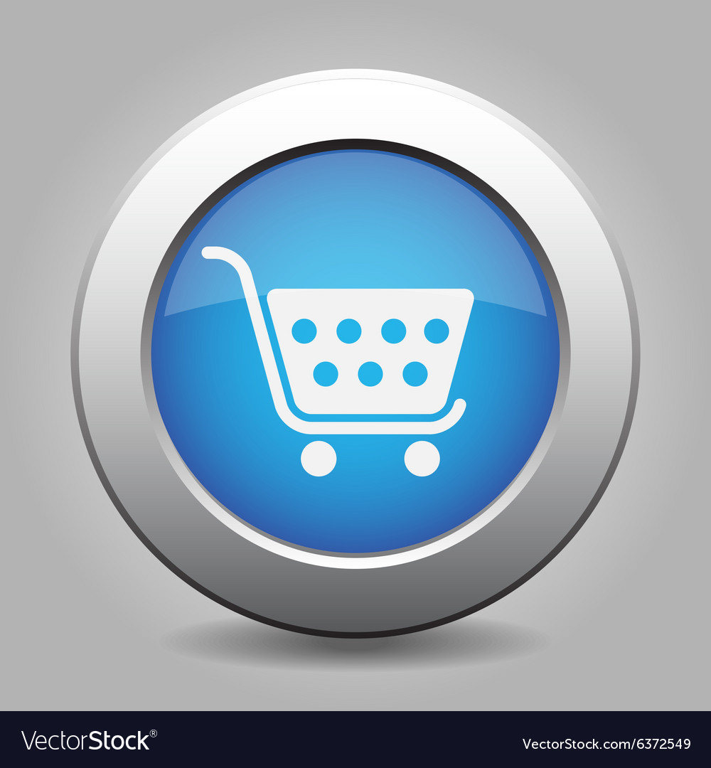 Blue button  shopping cart vector