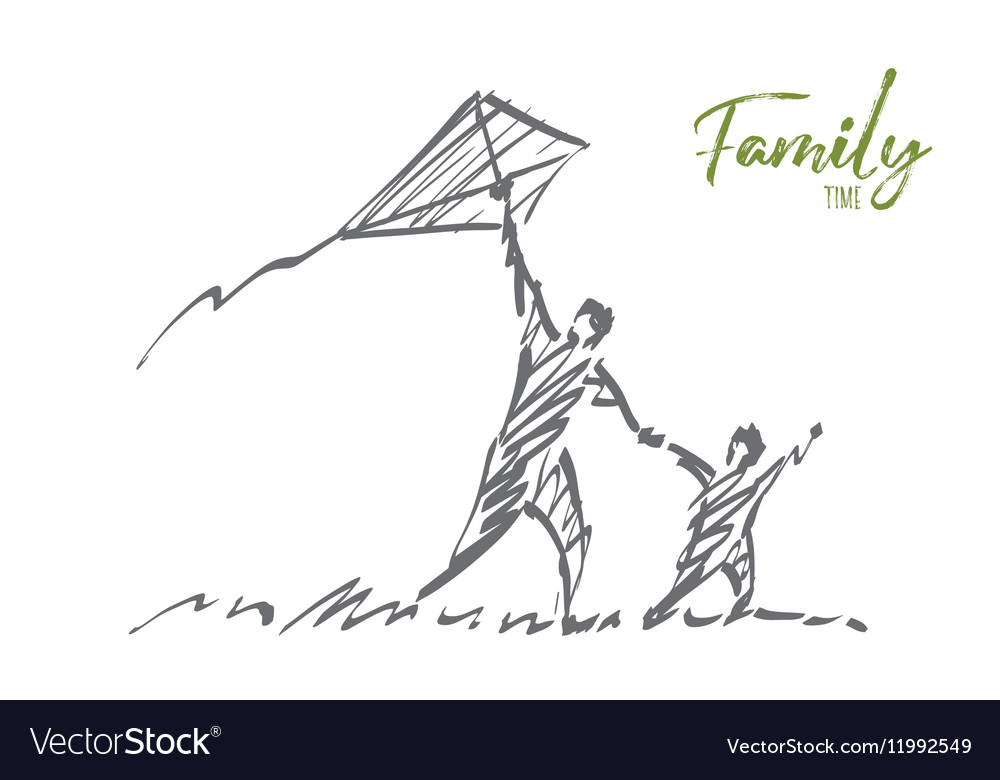 Hand drawn dad and son flying kite with lettering vector