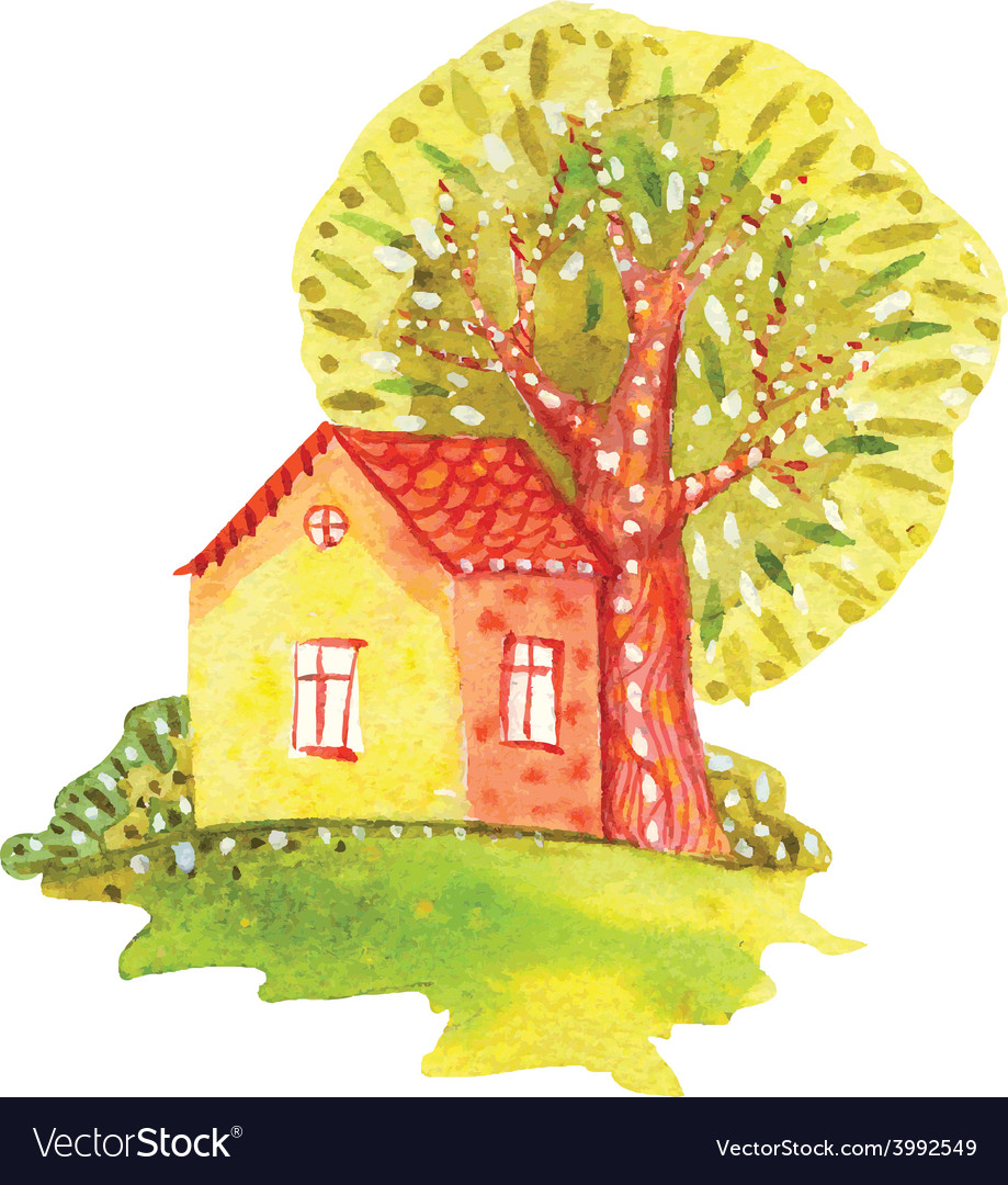 Watercolor house vector