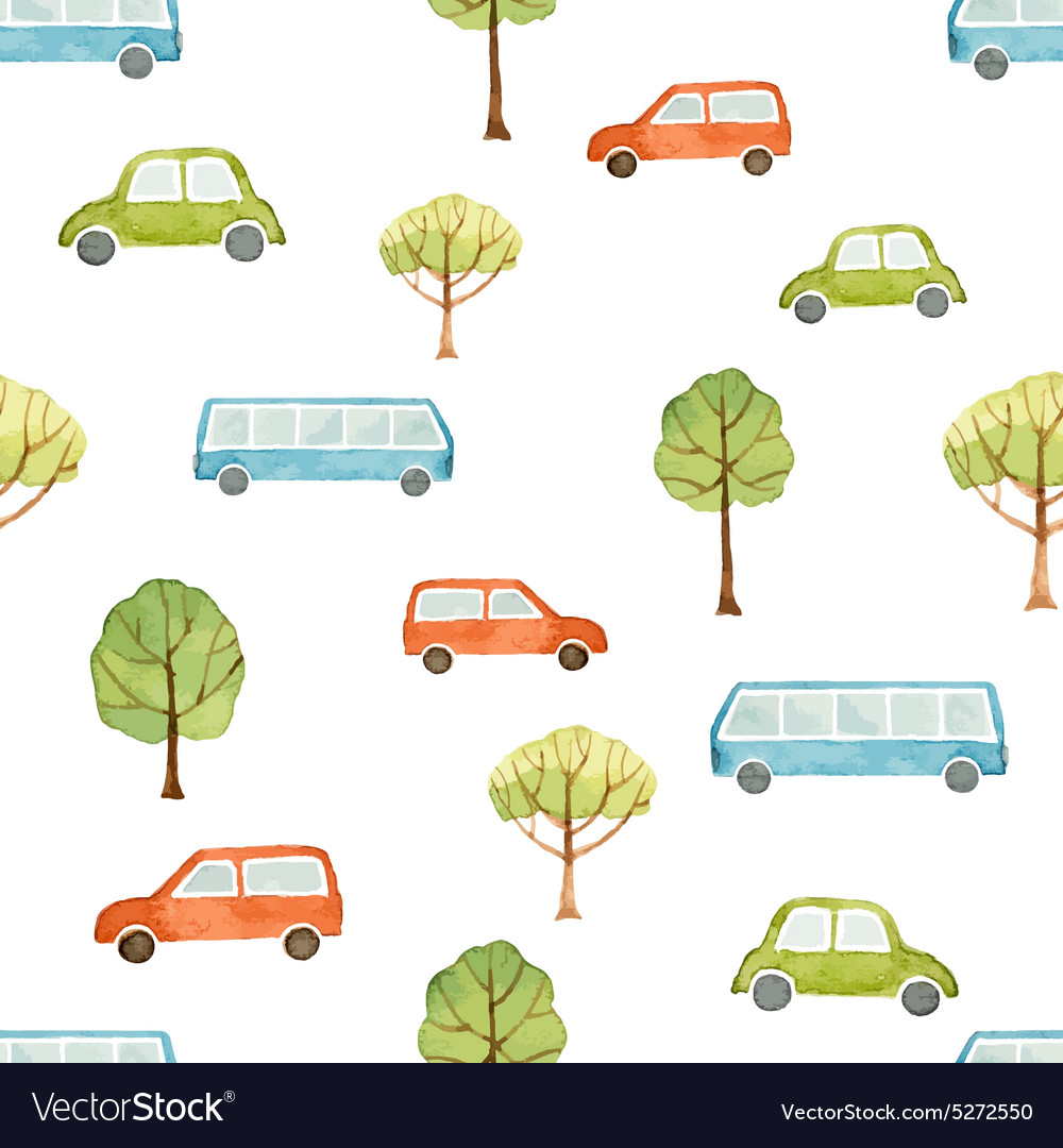 Watercolor seamless pattern car bus and trees vector