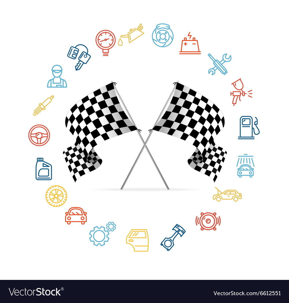 Car icon set and checkered flags motor racing vector