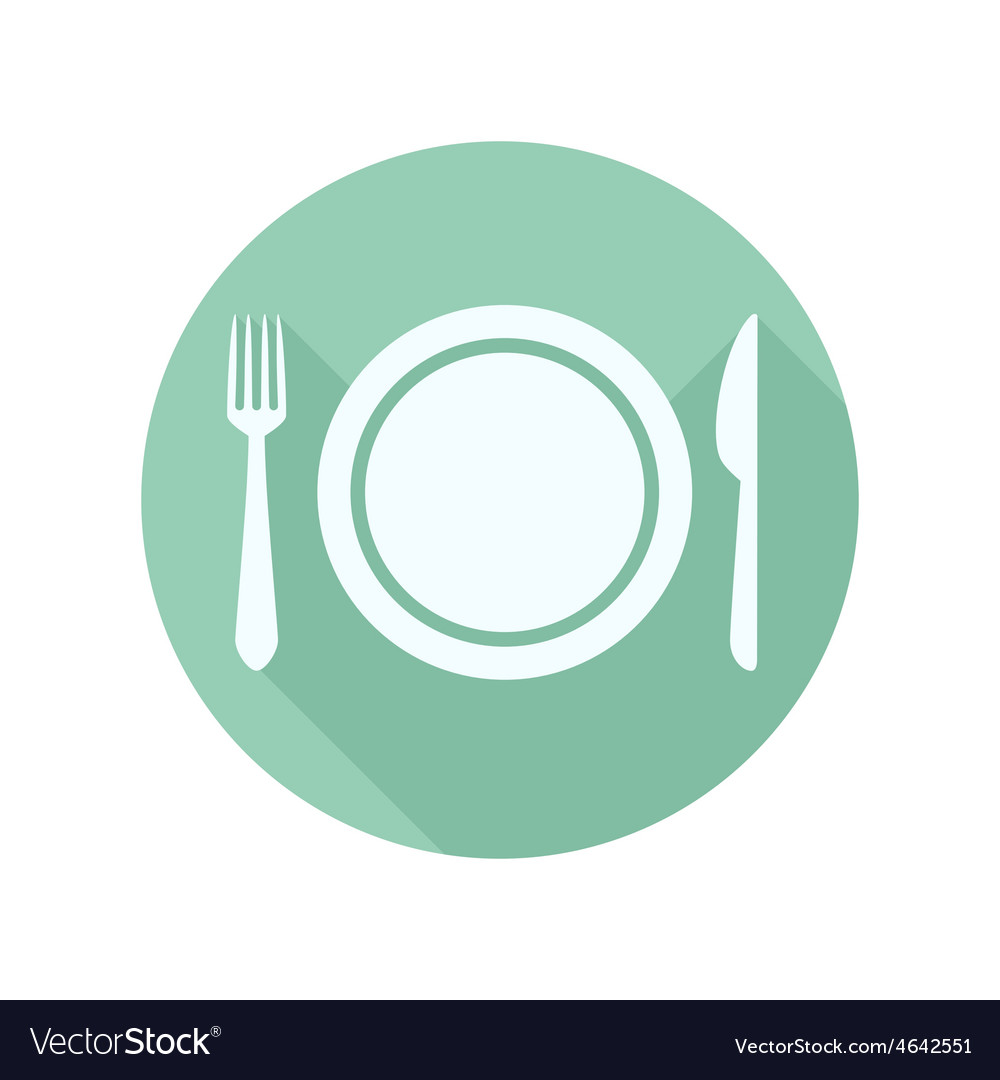 Flat icon of the plate fork and knife vector