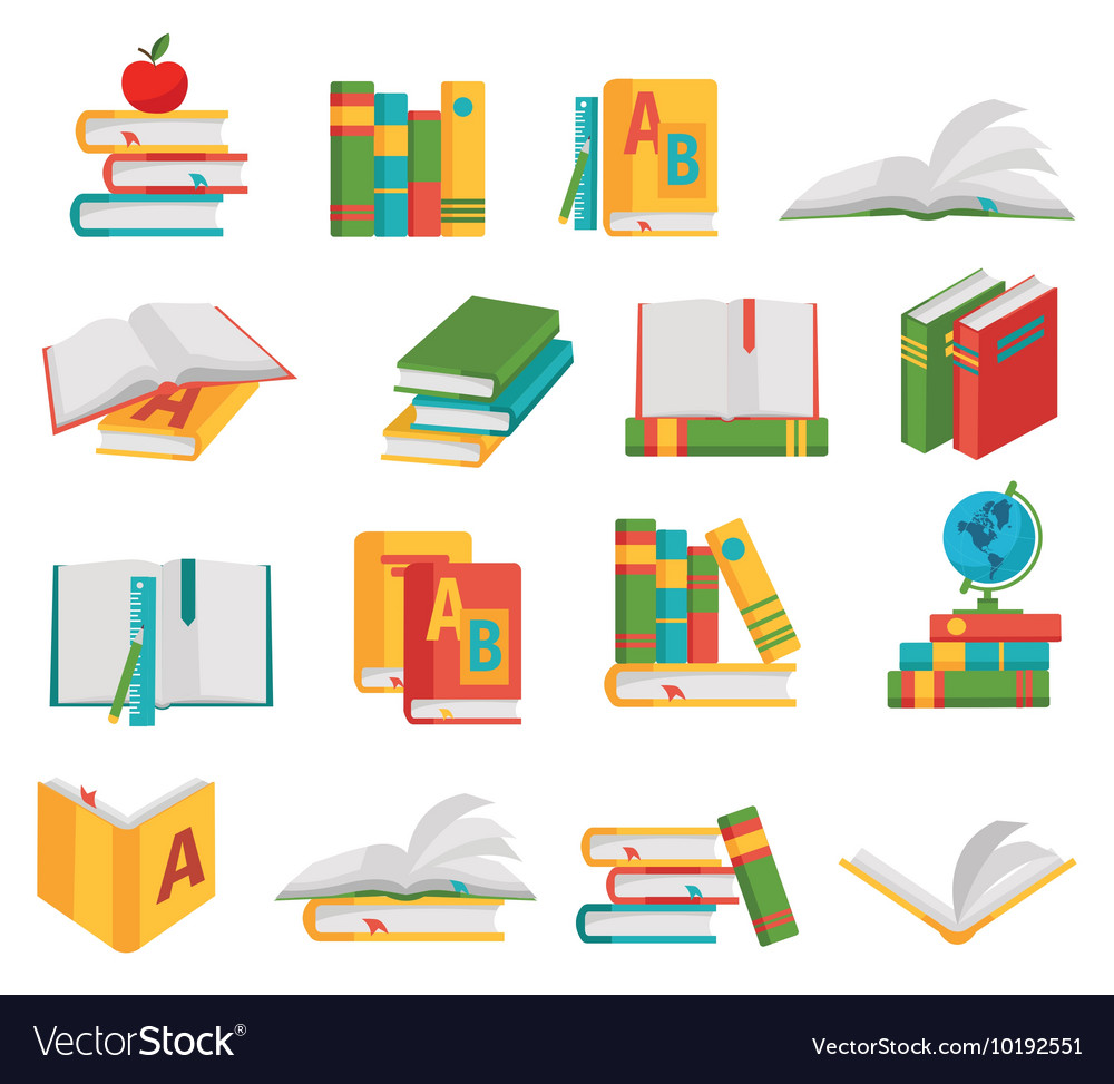 School books icon set vector