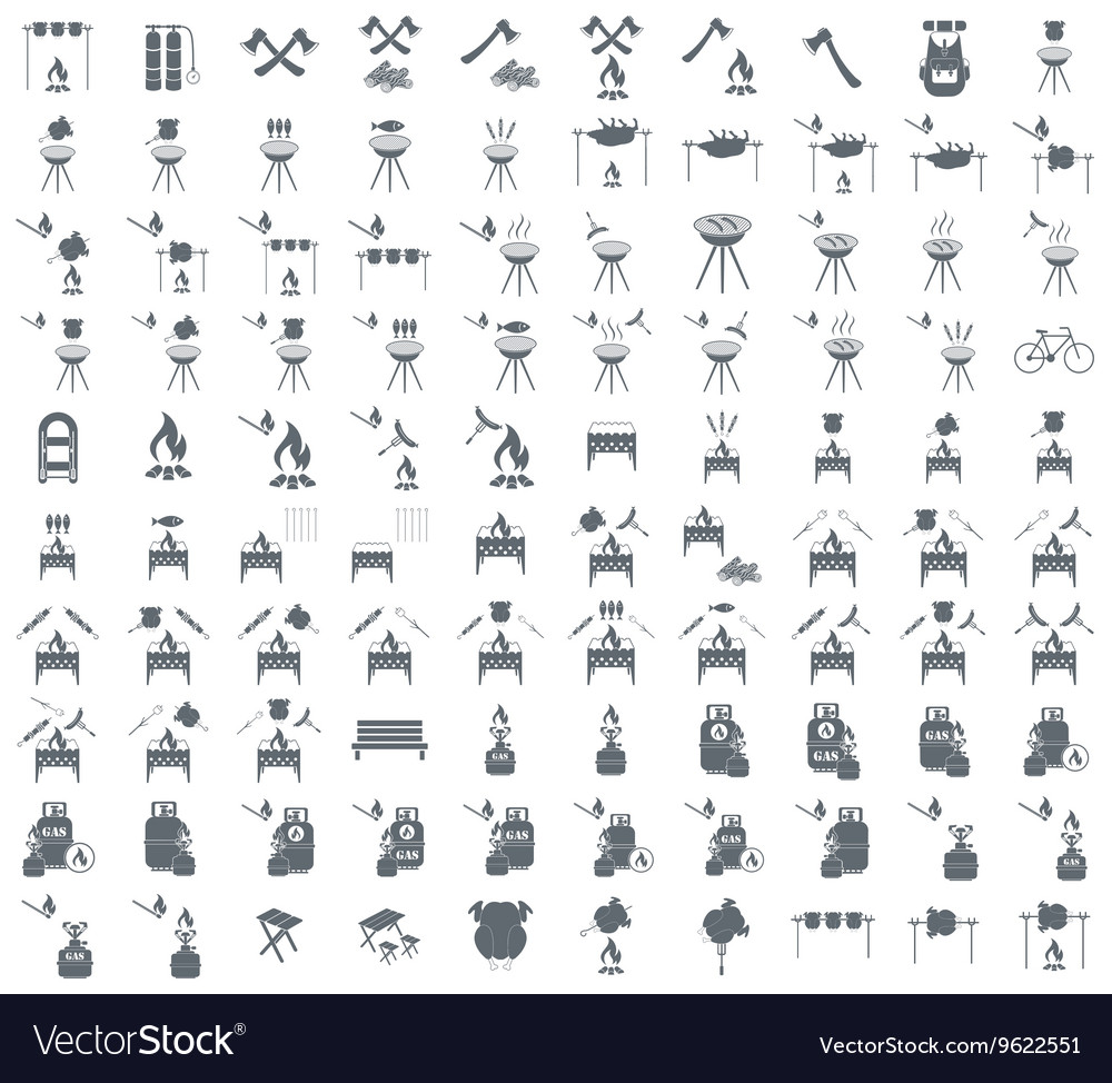 Set of 100 camp cooking icons vector