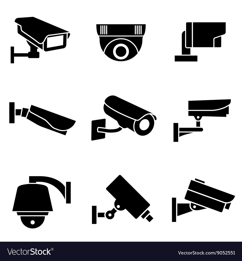 Video surveillance security cameras vector