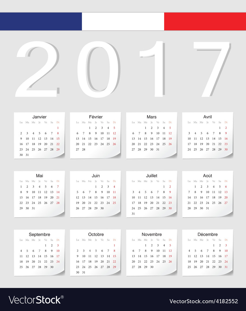 French 2017 calendar with shadow angles vector