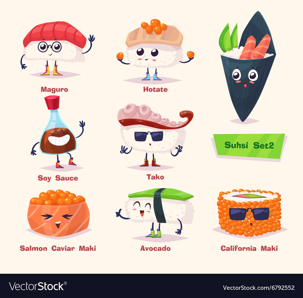 Sushi set soy sauce and sushi roll japanese food vector