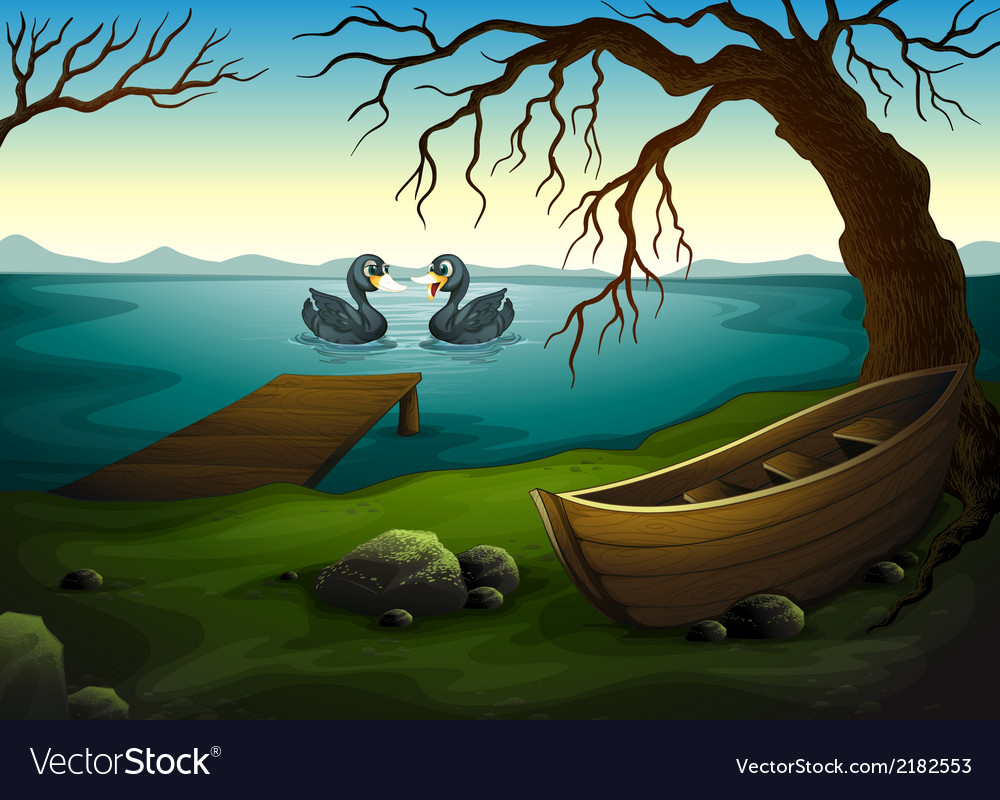 A boat under the tree near the sea with two ducks vector