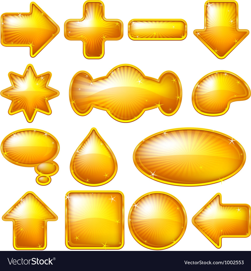 Golden buttons set vector
