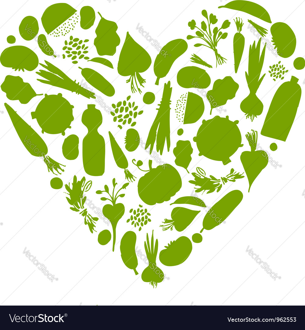 Healthy life  heart shape with vegetables vector