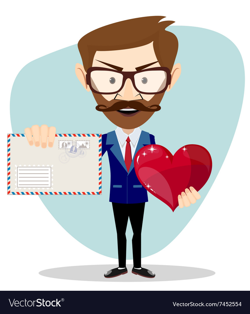 Businessman holding a heart and envelope vector