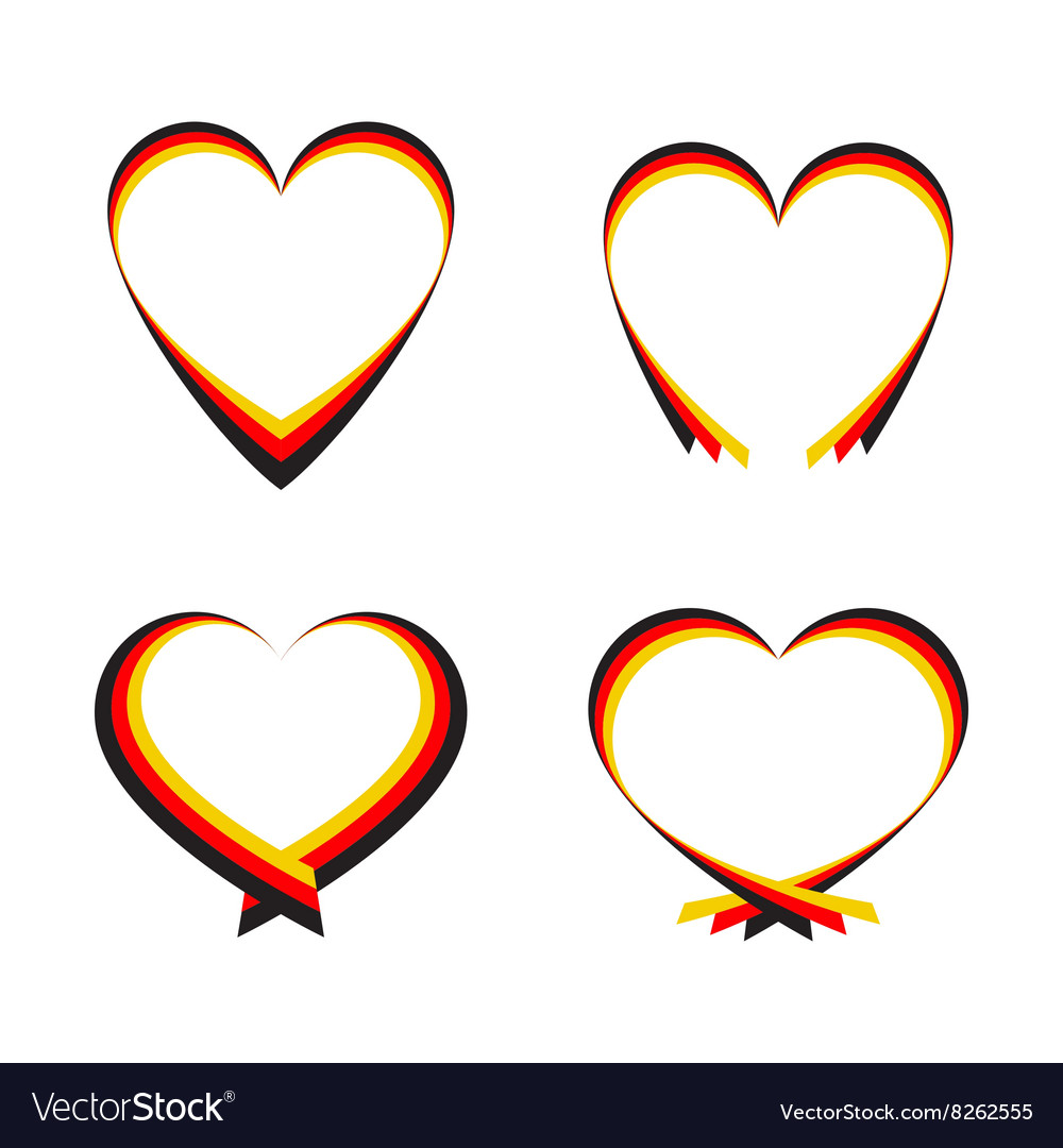 Abstract hearts with the colors of the german flag vector