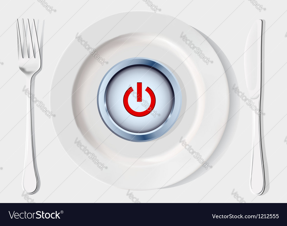 Button inside dish vector