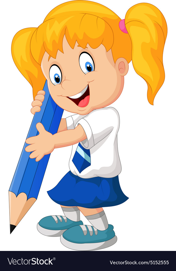 Cartoon school girl holding pencils vector
