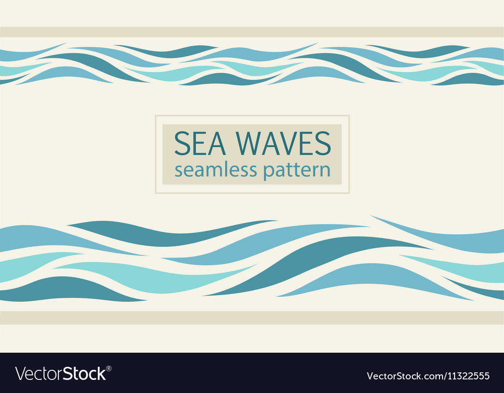 Seamless patterns with stylized sea waves vector