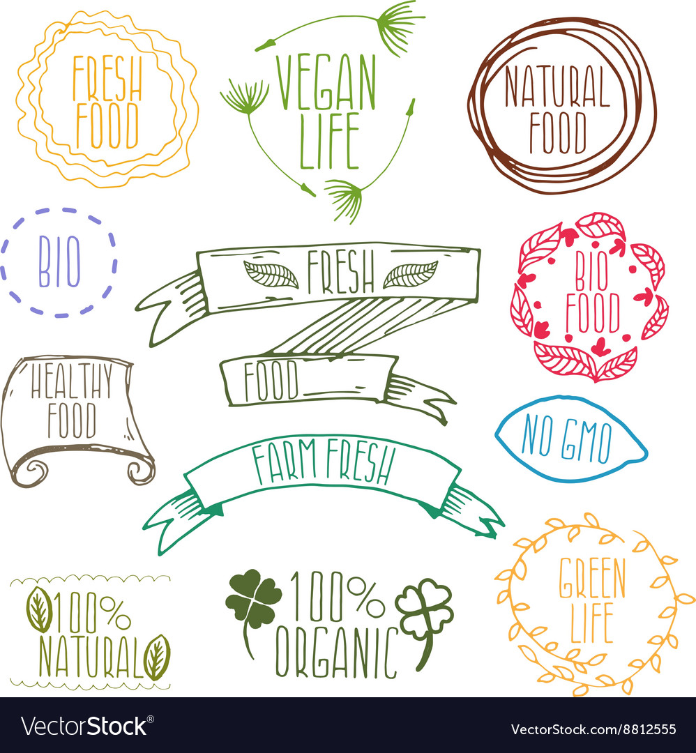 Set of hand drawn eco frendly labels vector