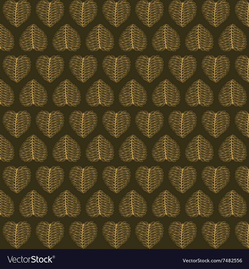 Creative valentines golden leaf pattern background vector