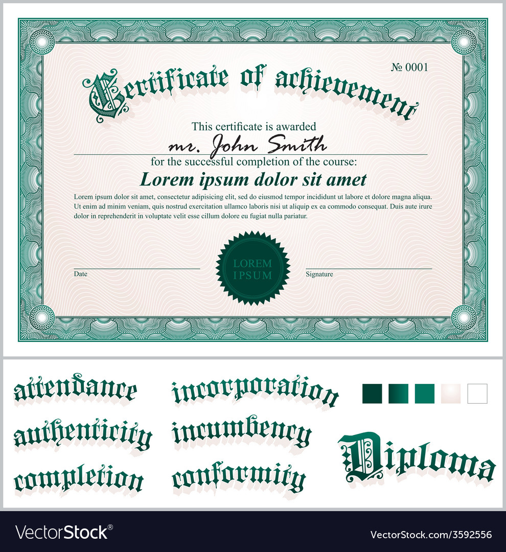 Green certificate template horizontal additional vector