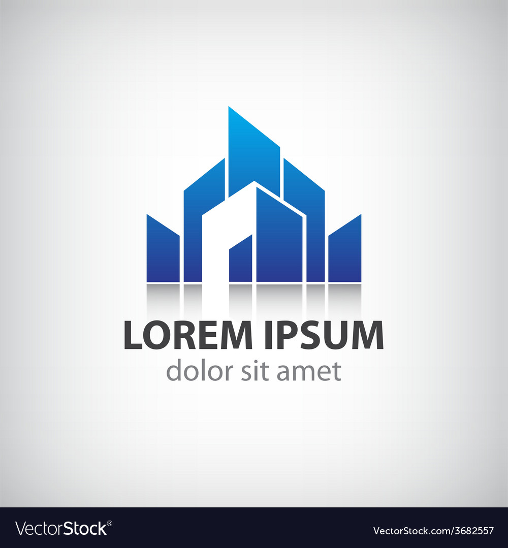 Abstract blue icon logo building silhouette vector
