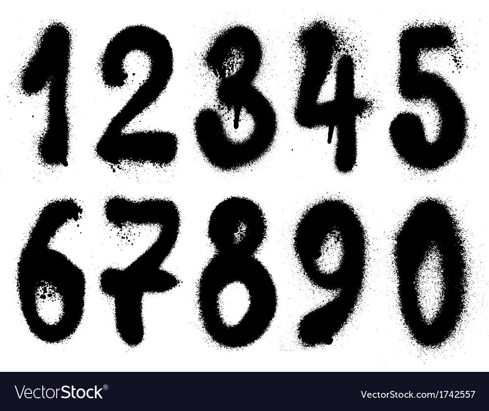 Hand drawn graffiti grunge spraycan numbers vector