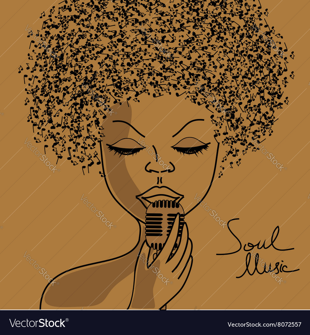 Singer silhouette with musical notes hair vector