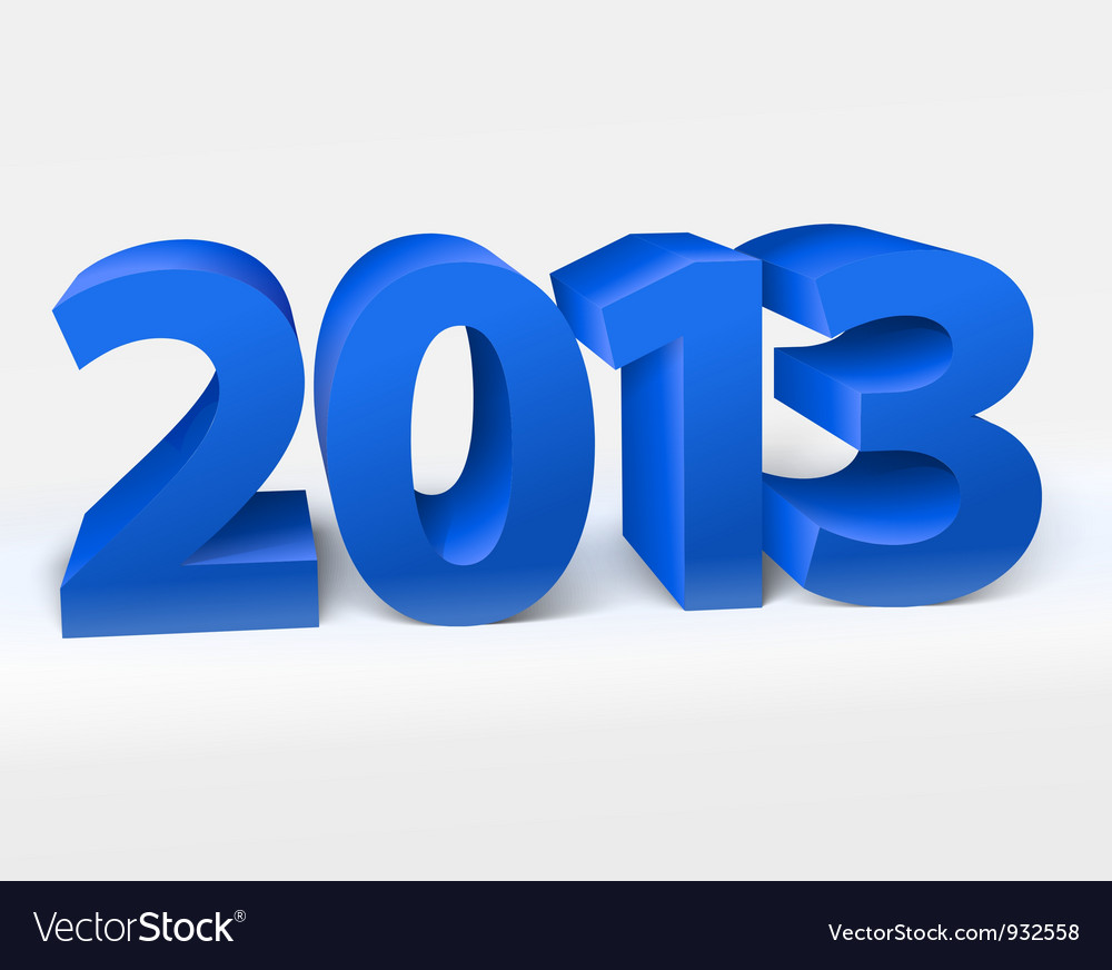 New year 2013 shiny 3d blue vector