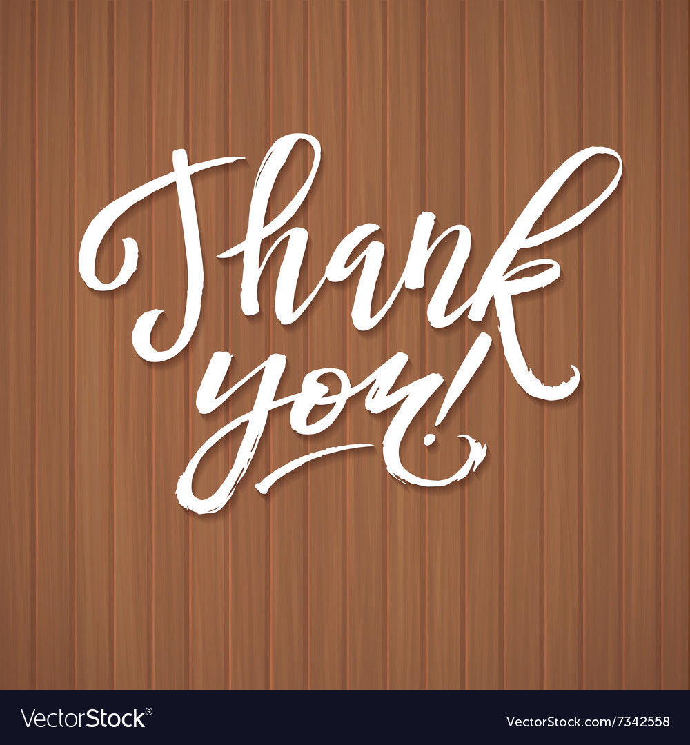 Thank you card calligraphic inscription ink vector