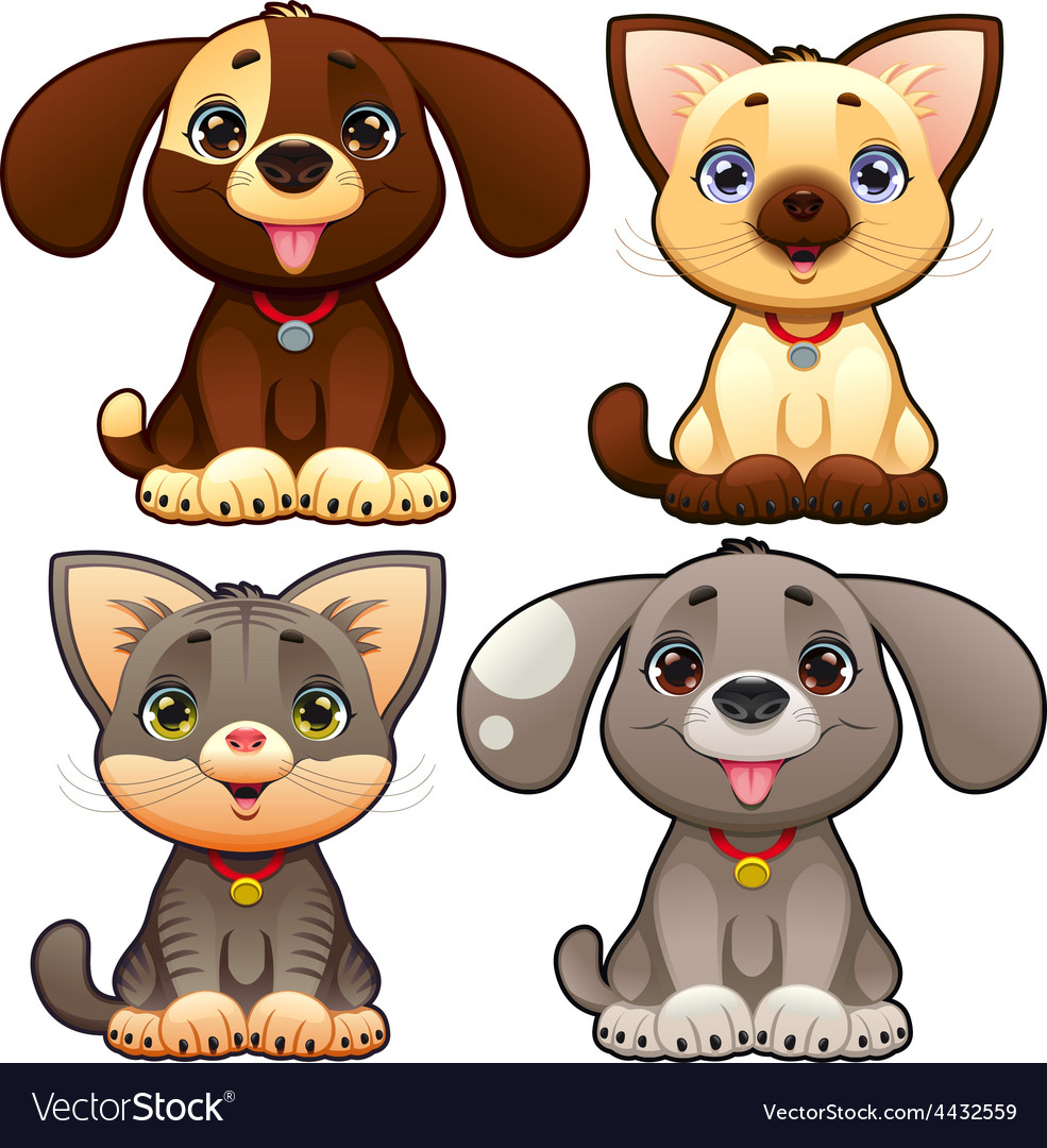 Cute dogs and cats vector