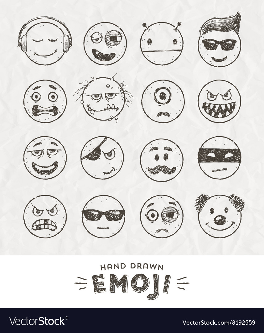 Hand drawn set of emoticons vector