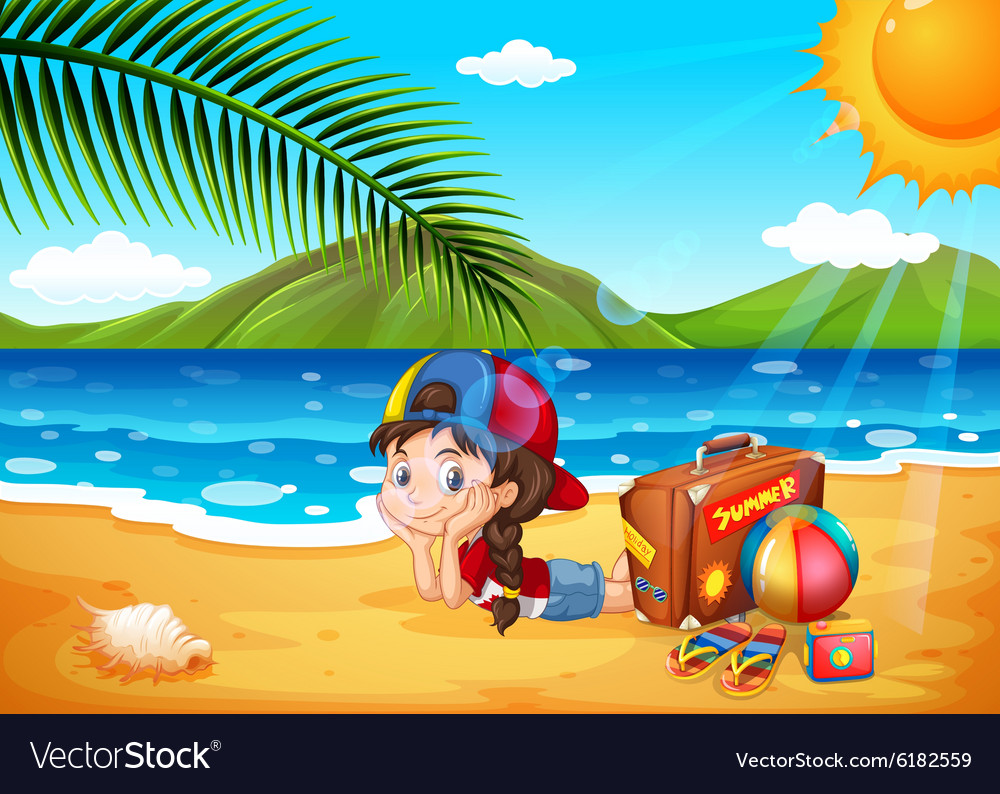 Little girl having fun at the beach vector