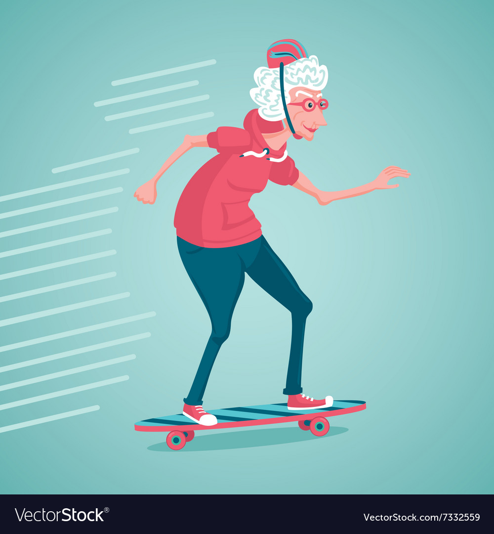 Old woman is skating vector