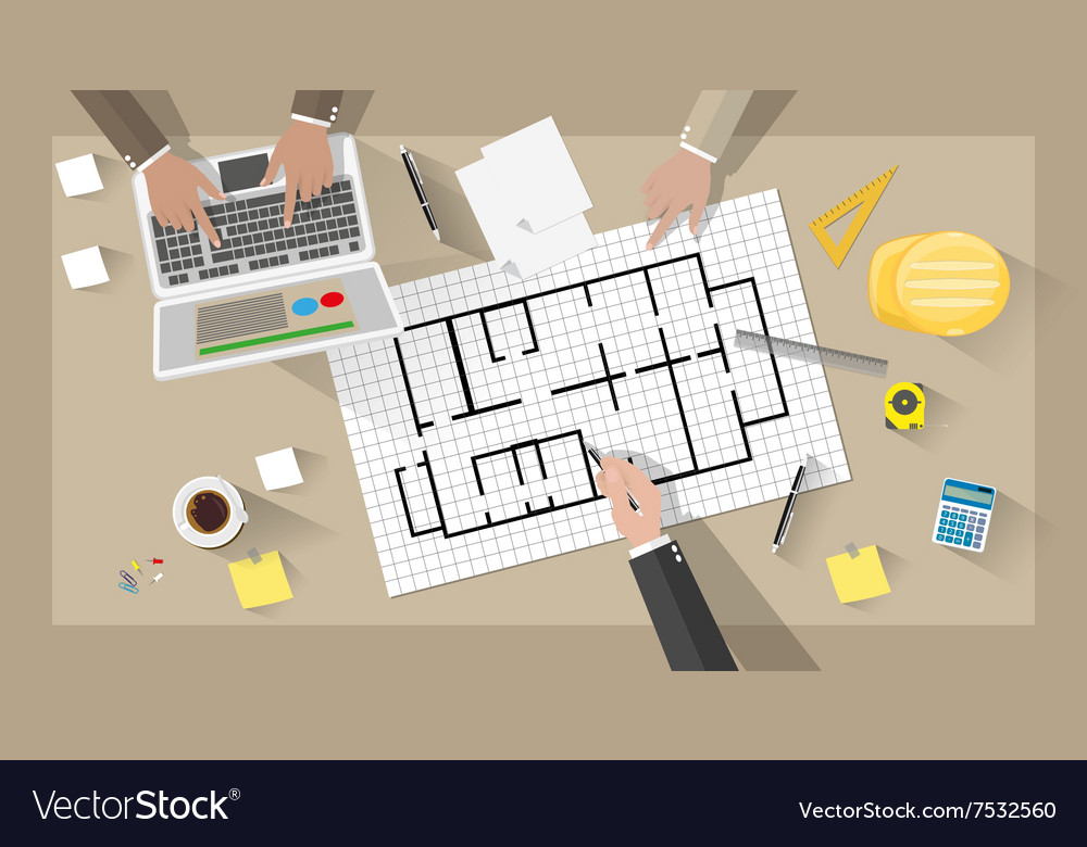 Construction engineer desktop vector