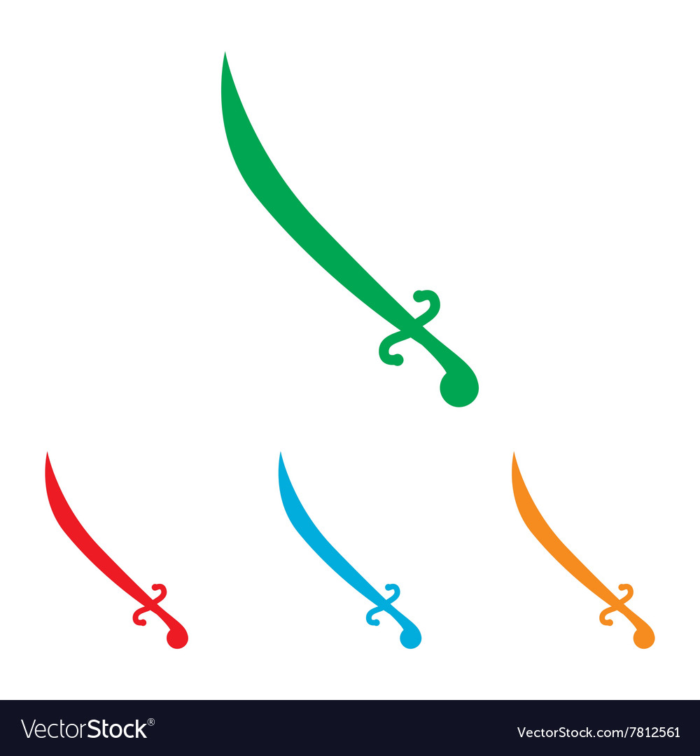 Sword sign colorfull set vector