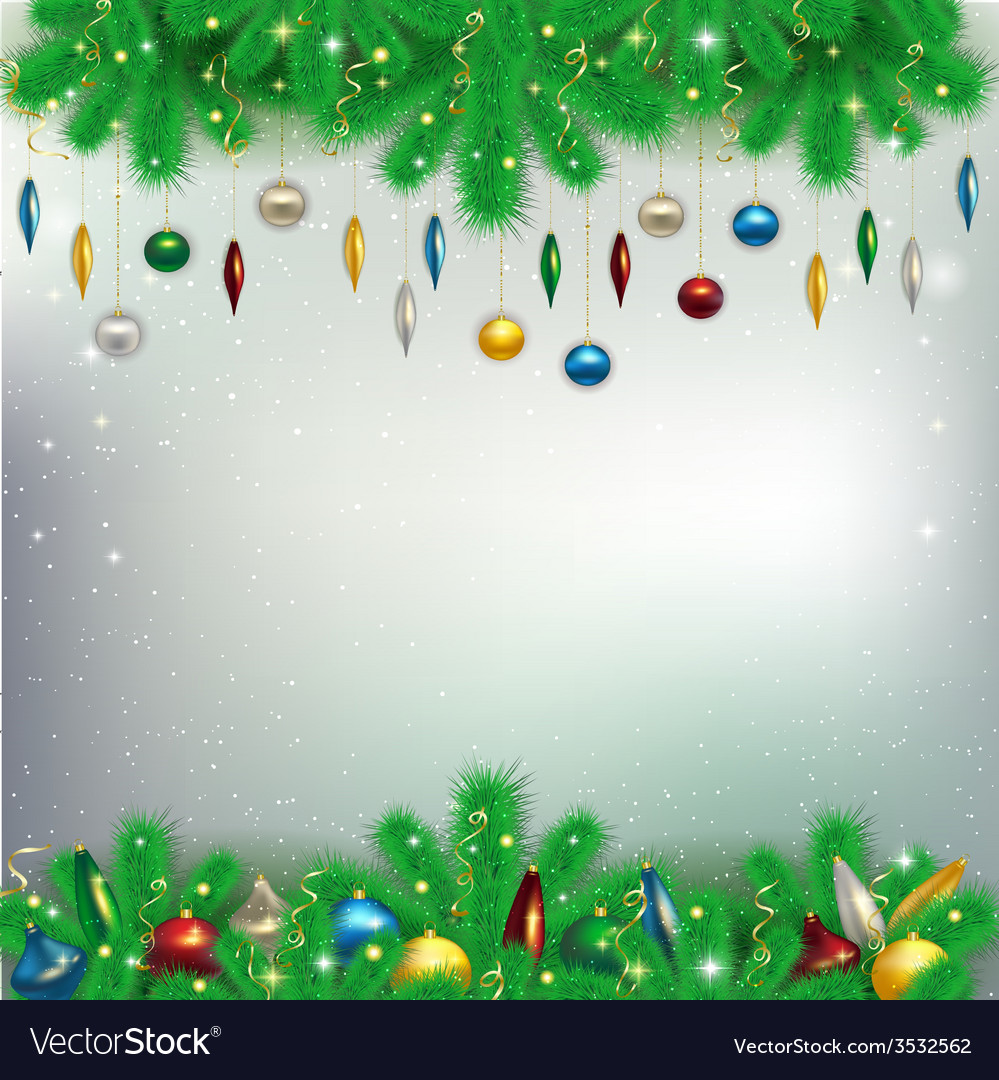 Christmas background with snowflakes and branches vector