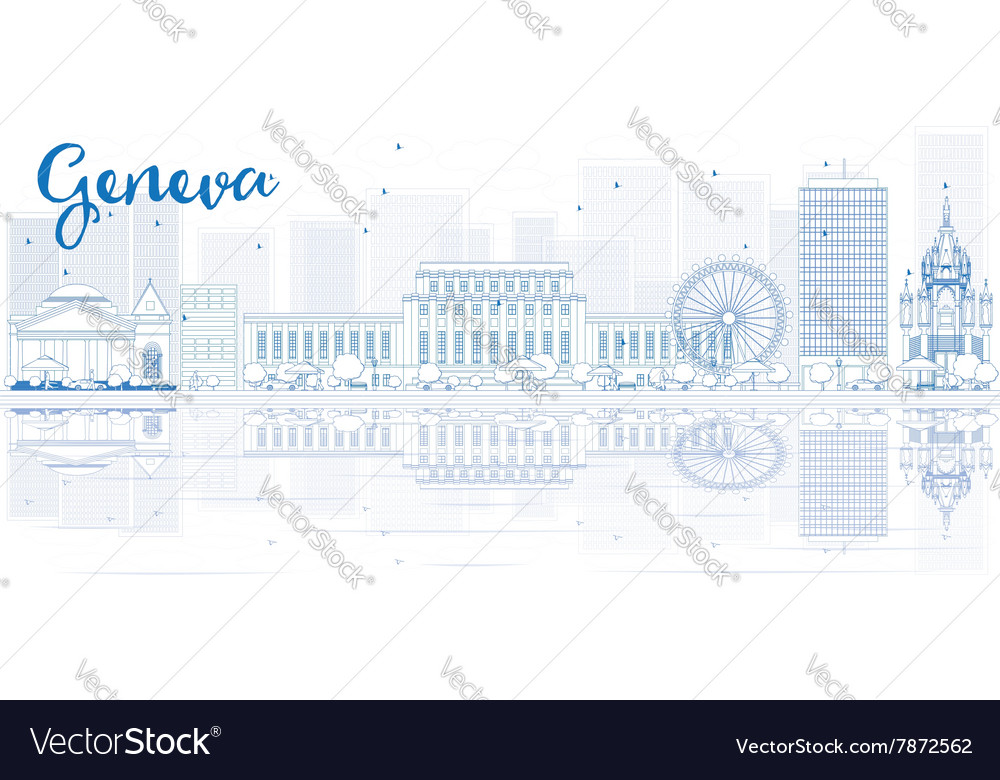 Outline geneva skyline with blue buildings vector