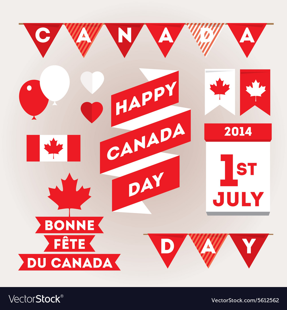 Set design elements for canada day first of july vector