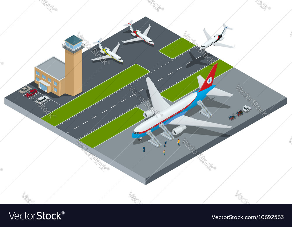 Isometric representing airport jet vector