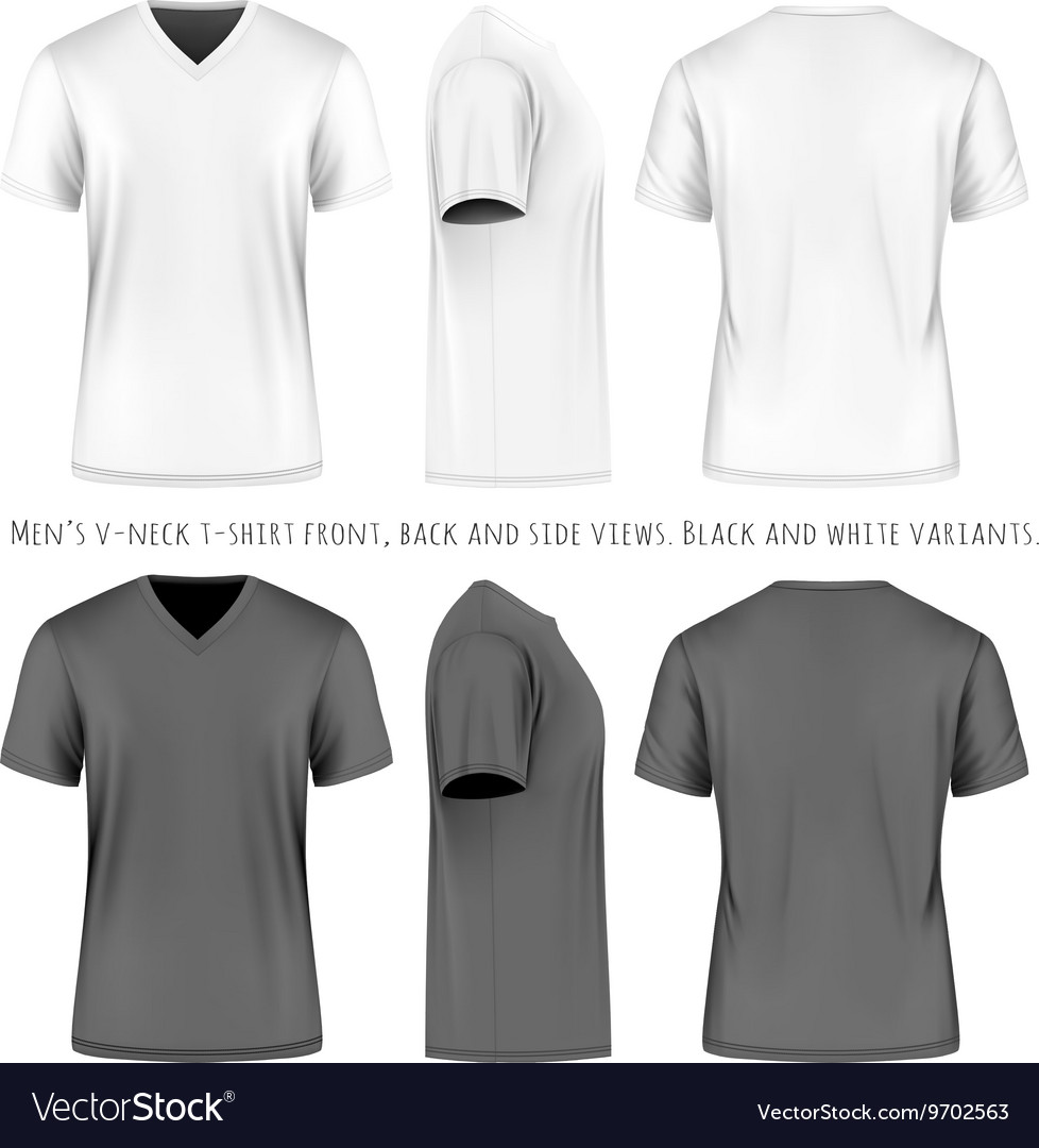 Men short sleeve vneck tshirt vector