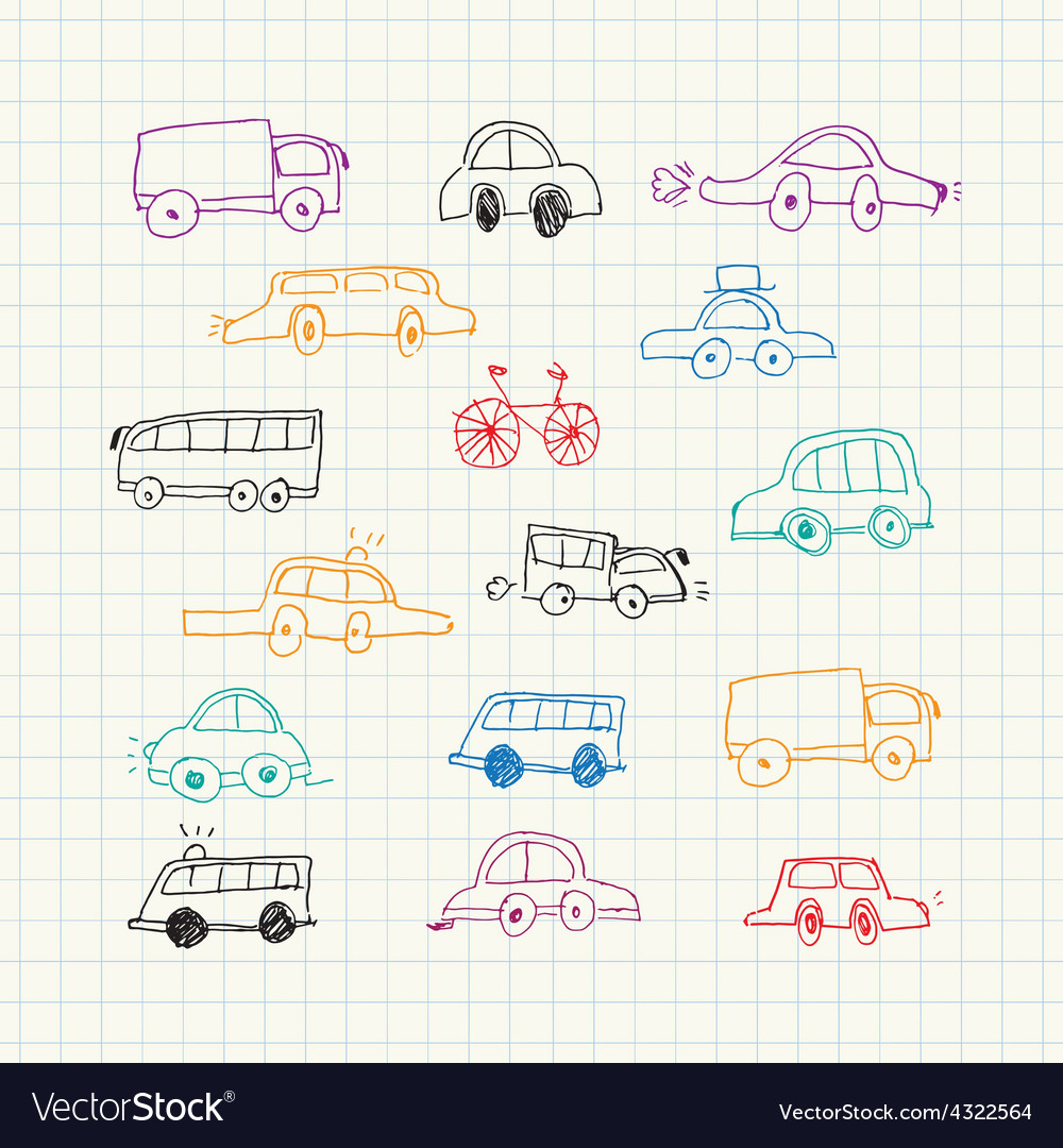 Cars doodles set vector