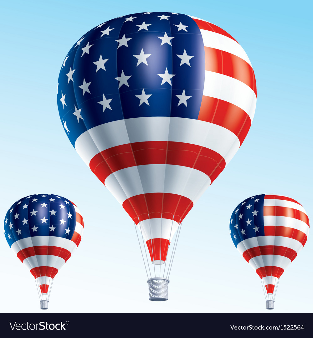 Hot balloons painted as usa flag vector