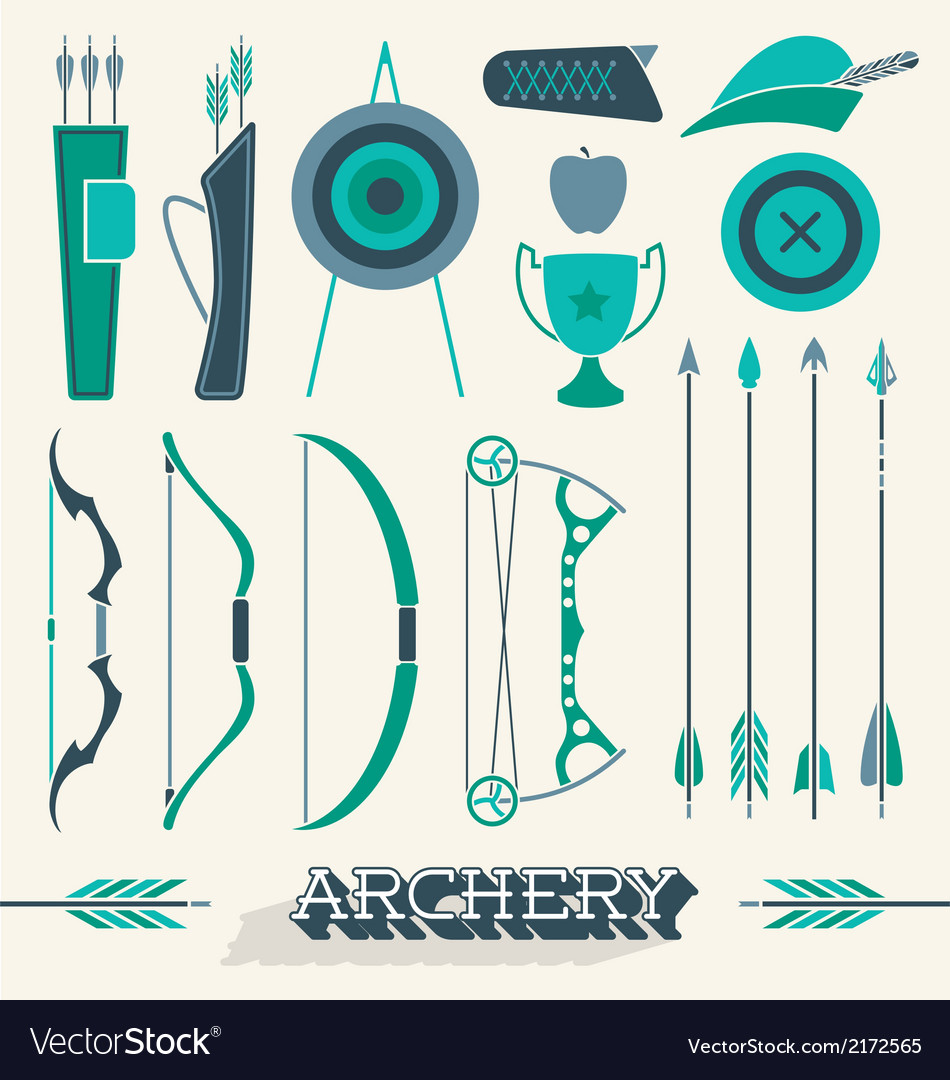 Archery icons and silhouettes vector