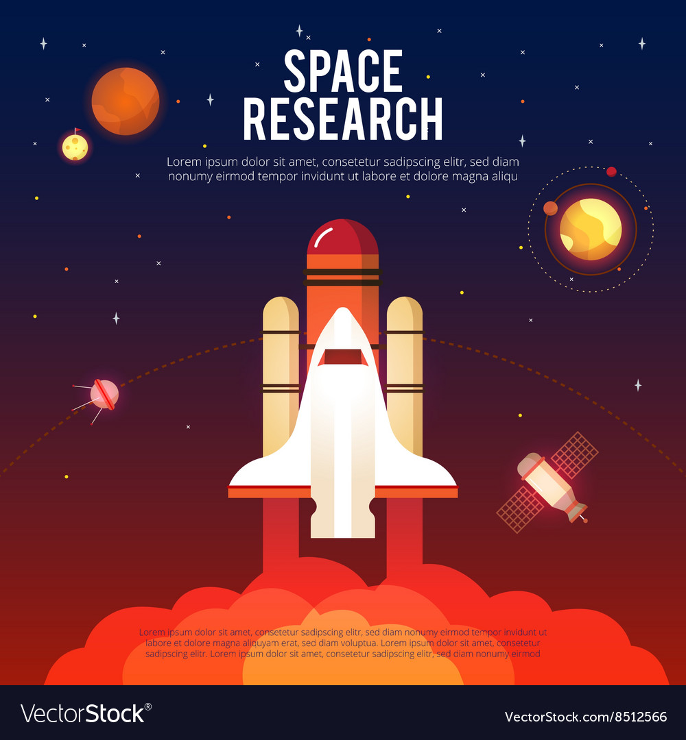 Space research and exploration flat banner vector