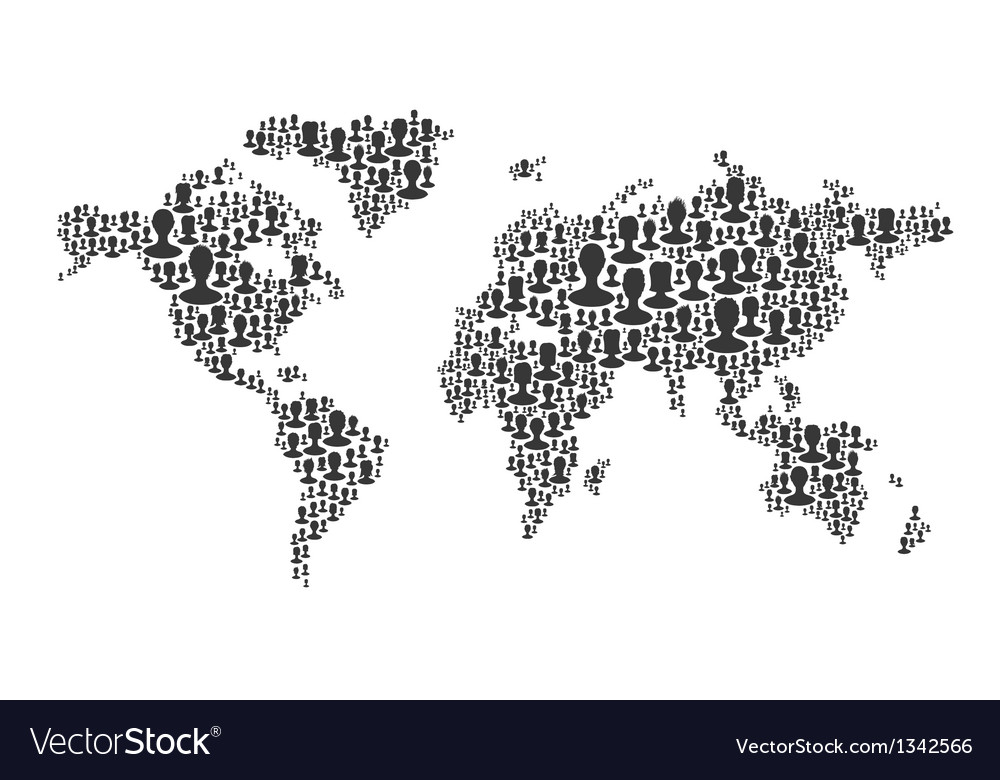 World map many silhouettes vector