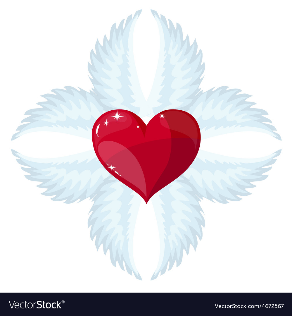 Cross angel wings and a heart in the middle vector