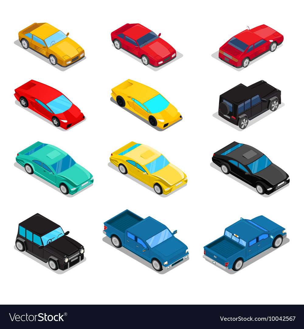 Isometric transportation car set vector