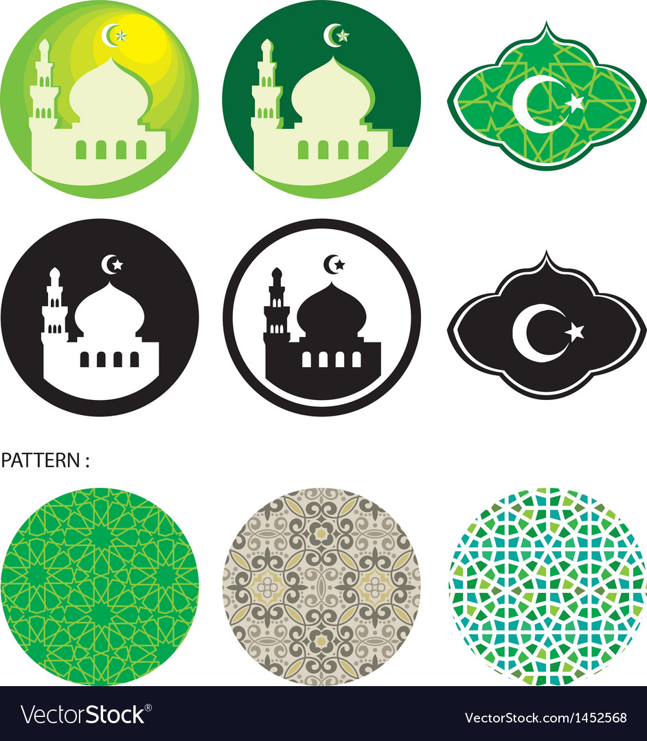 Mosque and islamic pattern vector