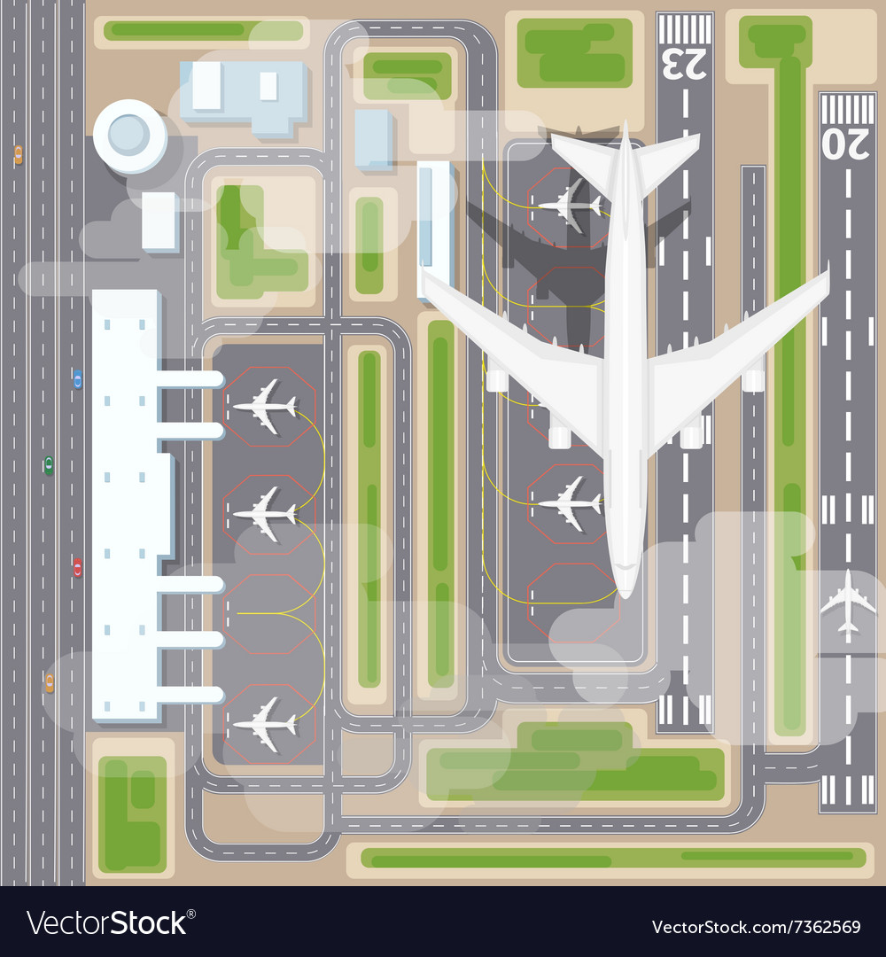 Airport landing strips top view vector