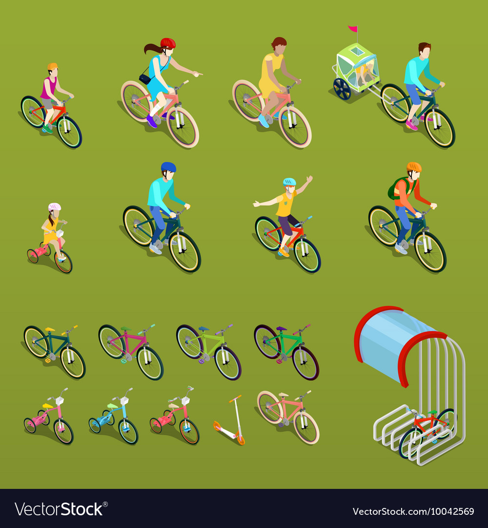Isometric people on bicycles vector